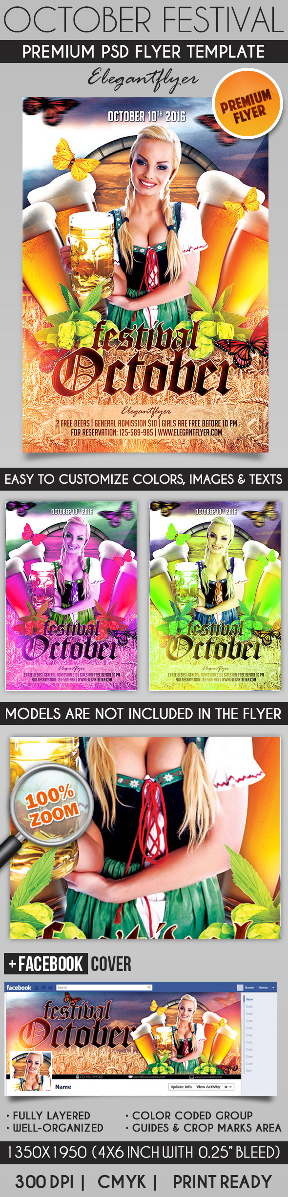 Oktober Festival – Flyer PSD Template + Facebook Cover