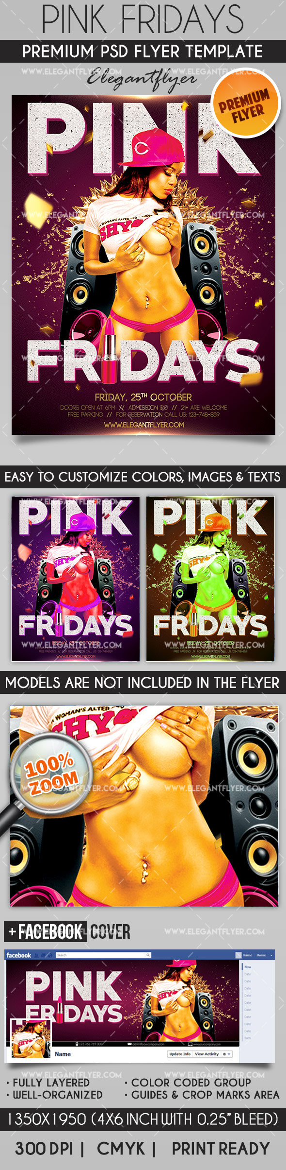 Pink Fridays – Flyer PSD Template + Facebook Cover