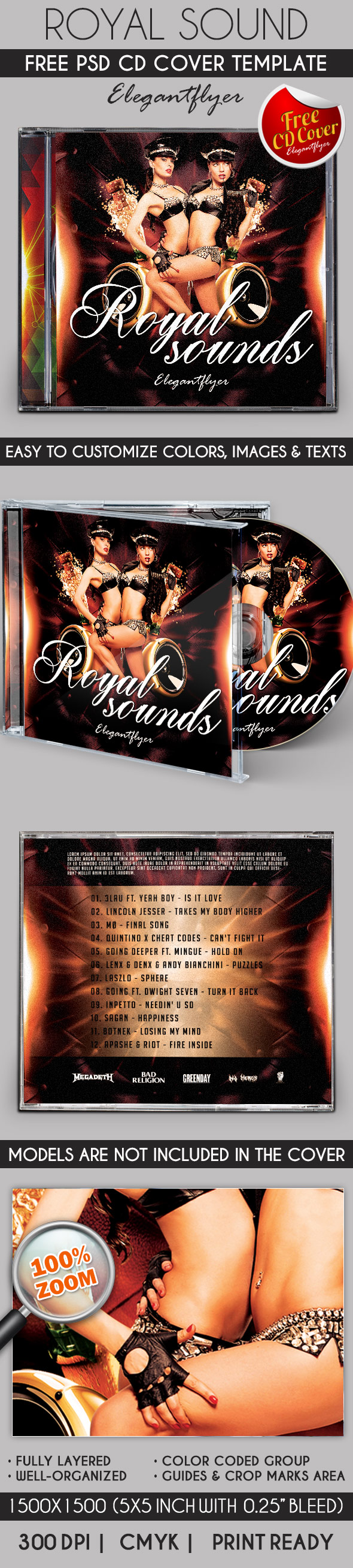 Royal Sound – Free CD Cover PSD Template