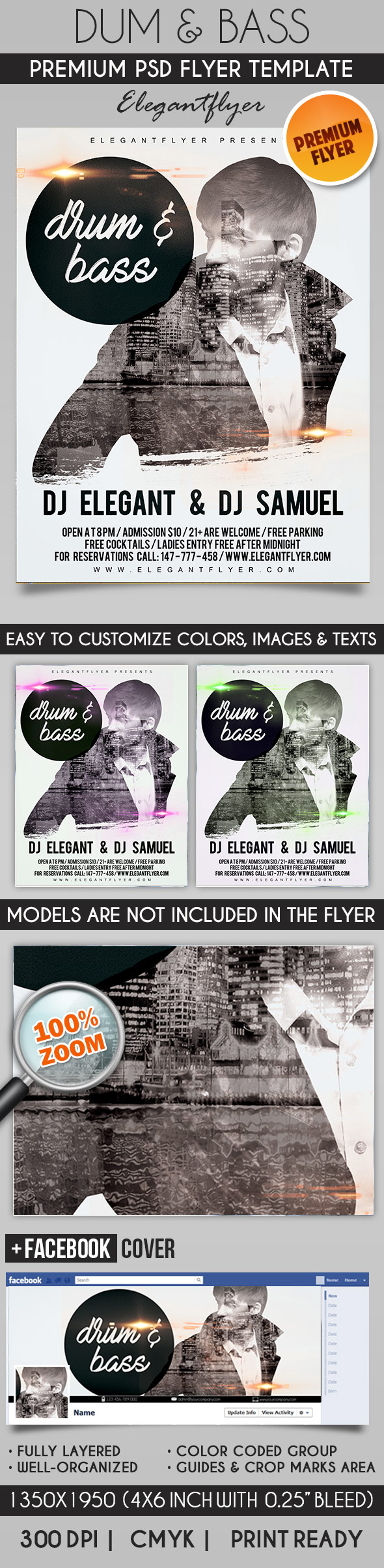 Drum & Bass – Flyer PSD Template + Facebook Cover