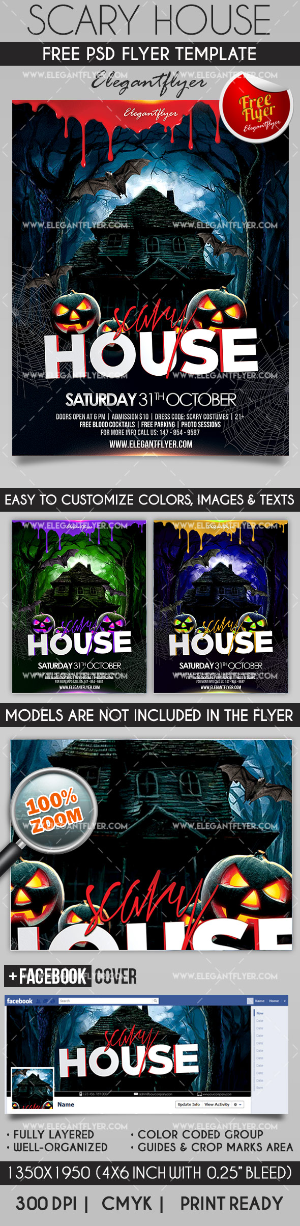 Scary House – Flyer PSD Template + Facebook Cover