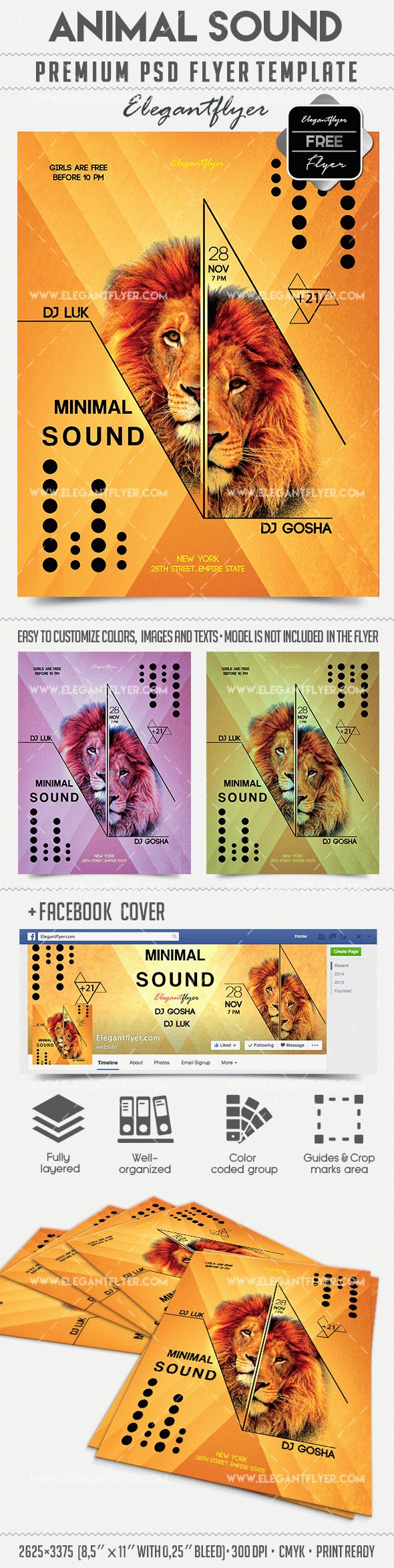 Animal Sound – Free Flyer PSD Template + Facebook Cover