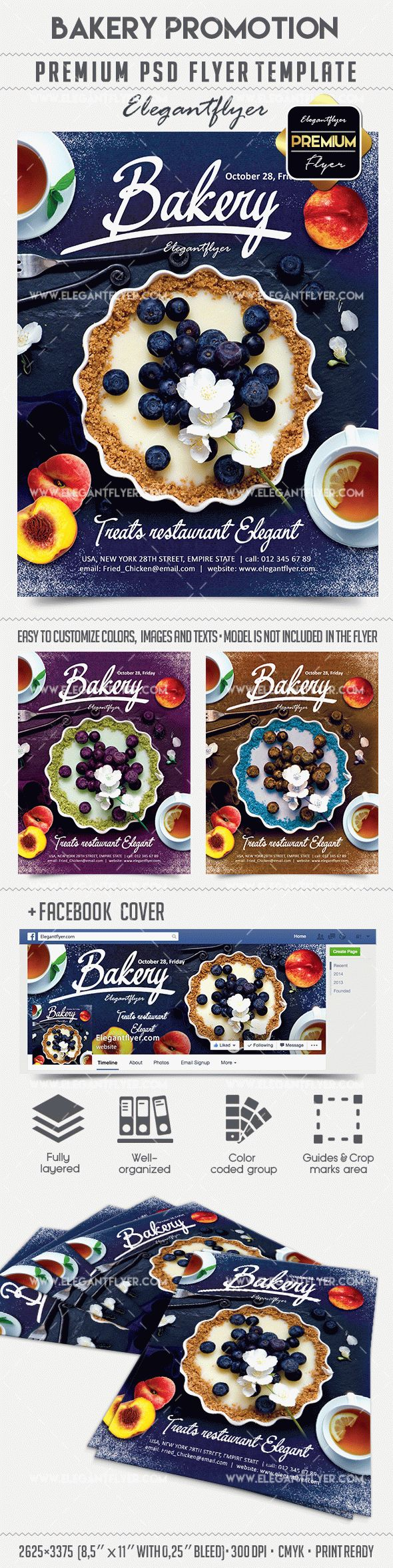 Bakery Promotion – Flyer PSD Template + Facebook Cover