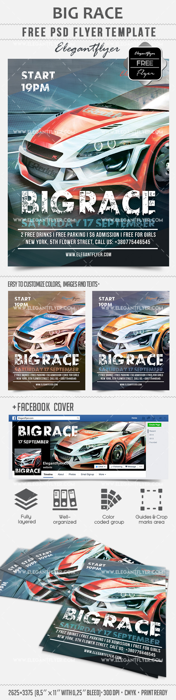 Big Race – Free Flyer PSD Template