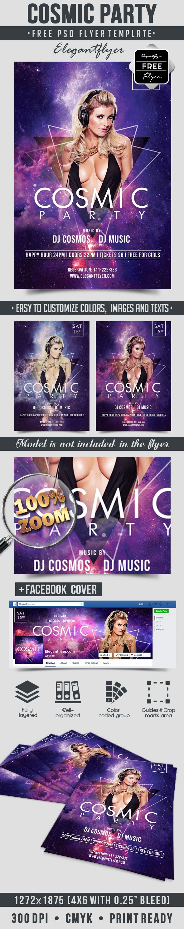 Free Flyer For Cosmic Party Template