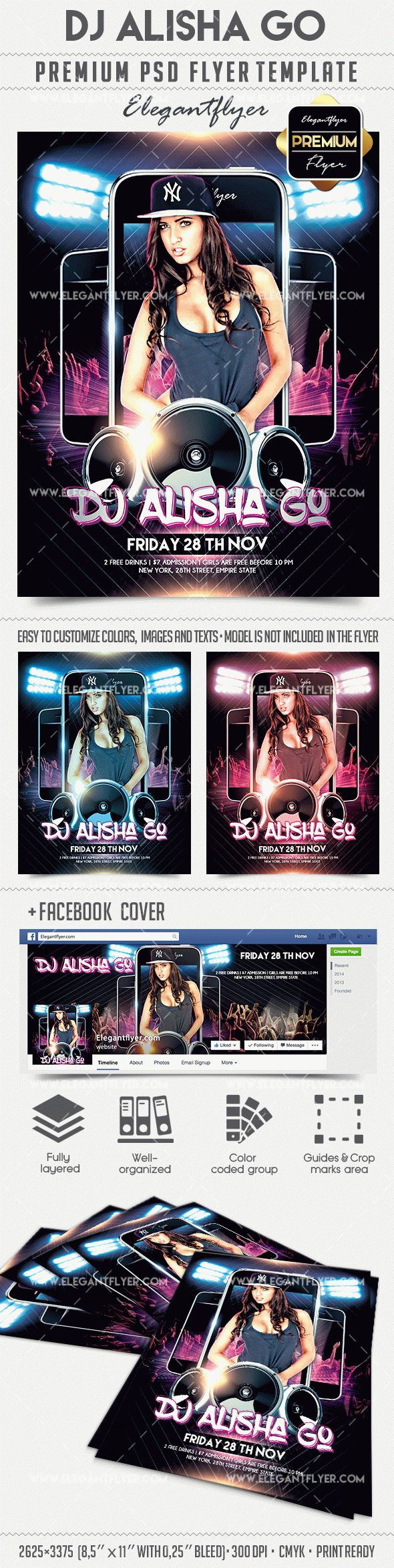 DJ Alisha Go – Flyer PSD Template + Facebook Cover