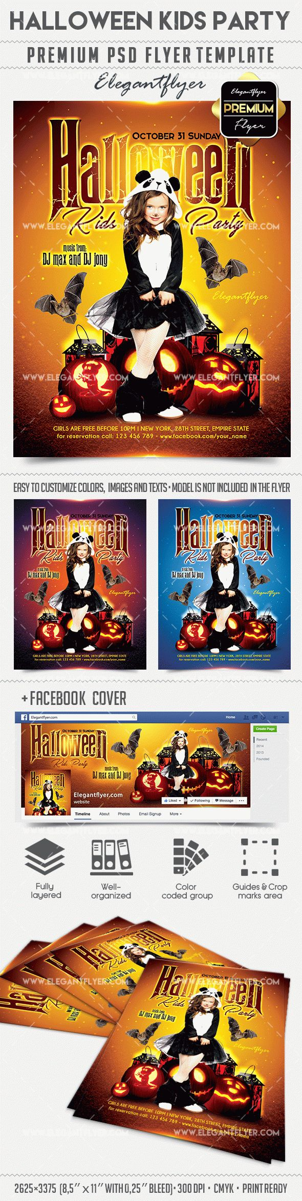 Halloween Kids Party – Flyer PSD Template + Facebook Cover – by ...