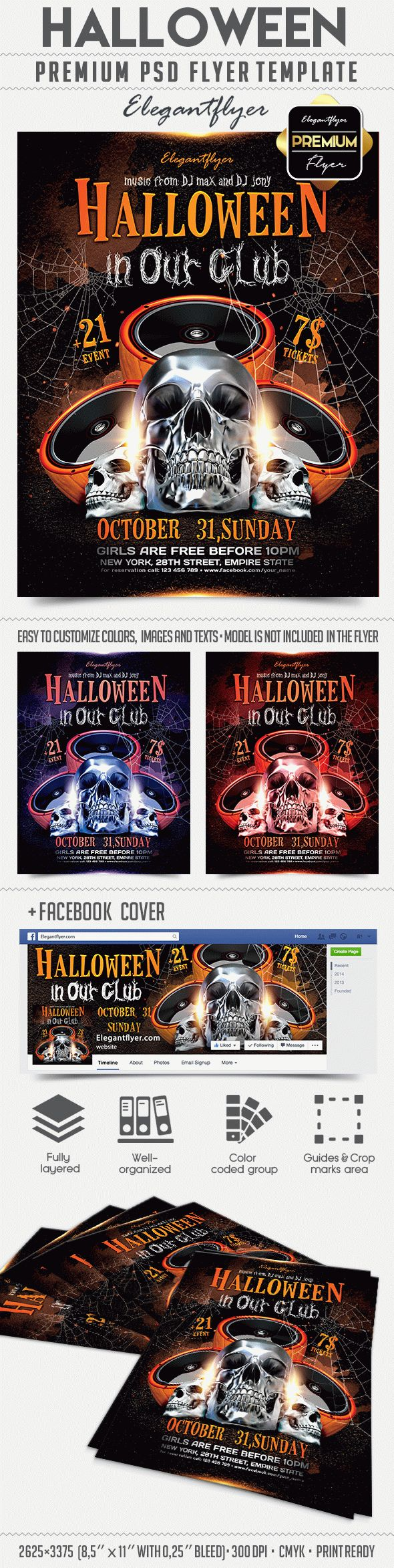 Halloween in Our Club – Flyer PSD Template + Facebook Cover