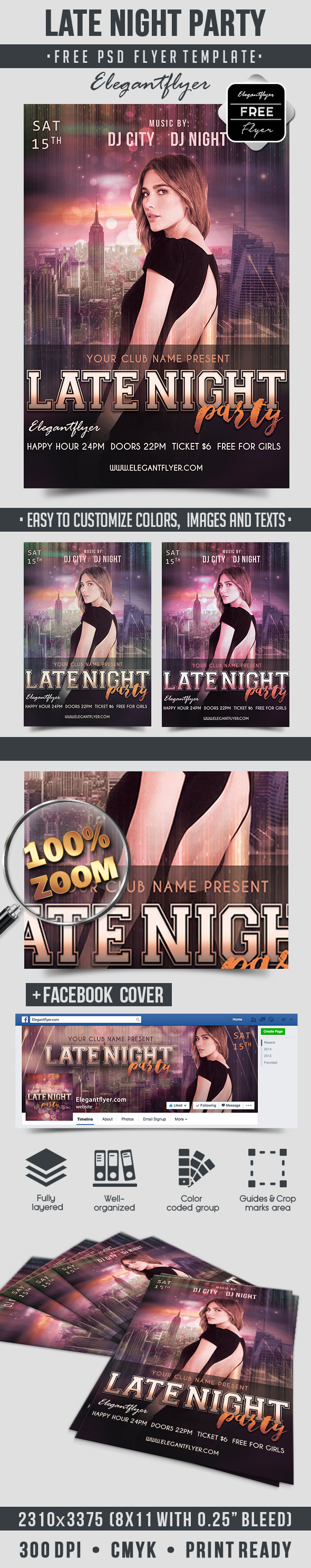Late Night Party – Free Flyer PSD Template + Facebook Cover