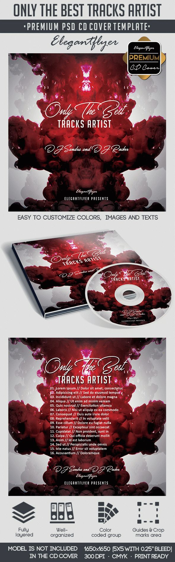 Only The Best Tracks Artist – Premium CD&DVD cover PSD Template
