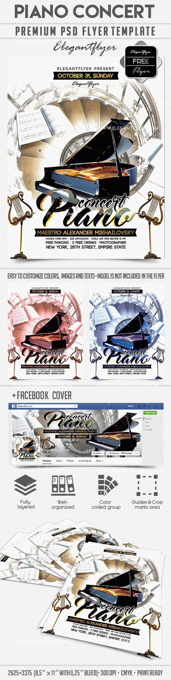 Piano concert – Free Flyer PSD Template + Facebook Cover