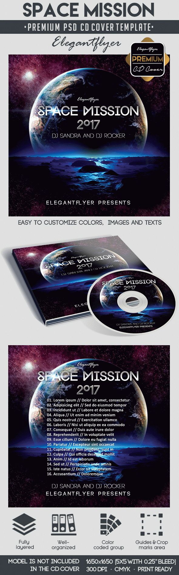 Space Mission – Premium CD&DVD cover PSD Template