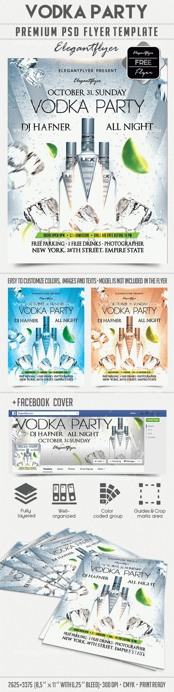 Vodka party – Free Flyer PSD Template + Facebook Cover