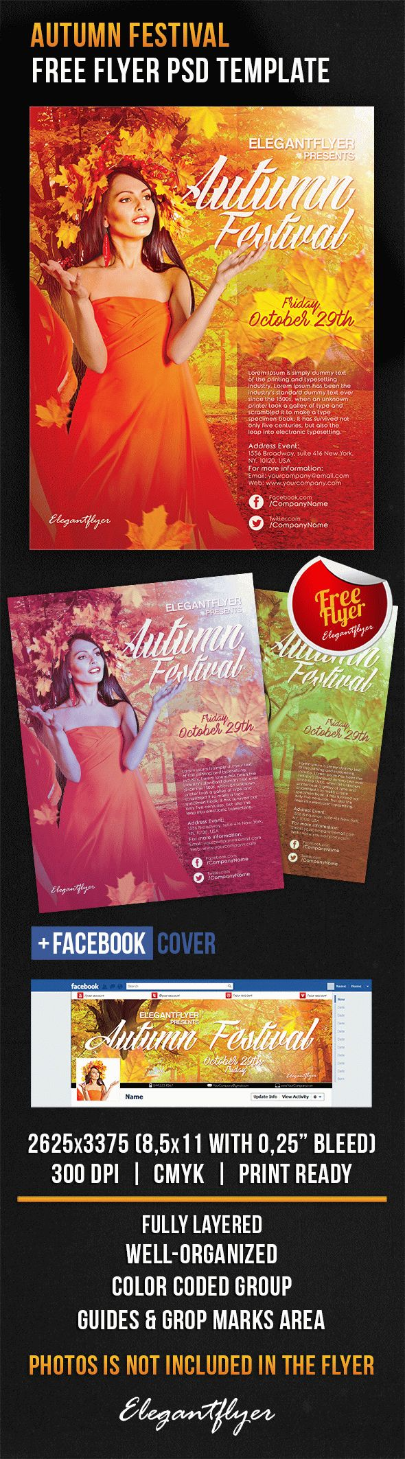 Autumn Festival – Free Flyer PSD Template + Facebook Cover