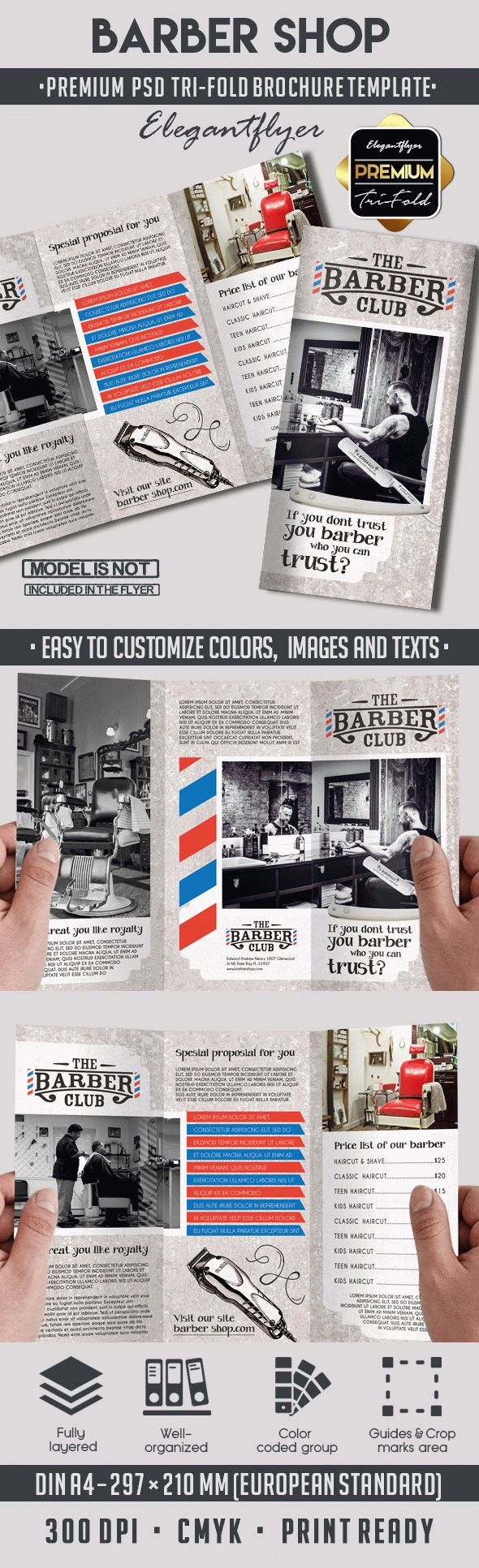 The Barber Club Tri-Fold Brochure