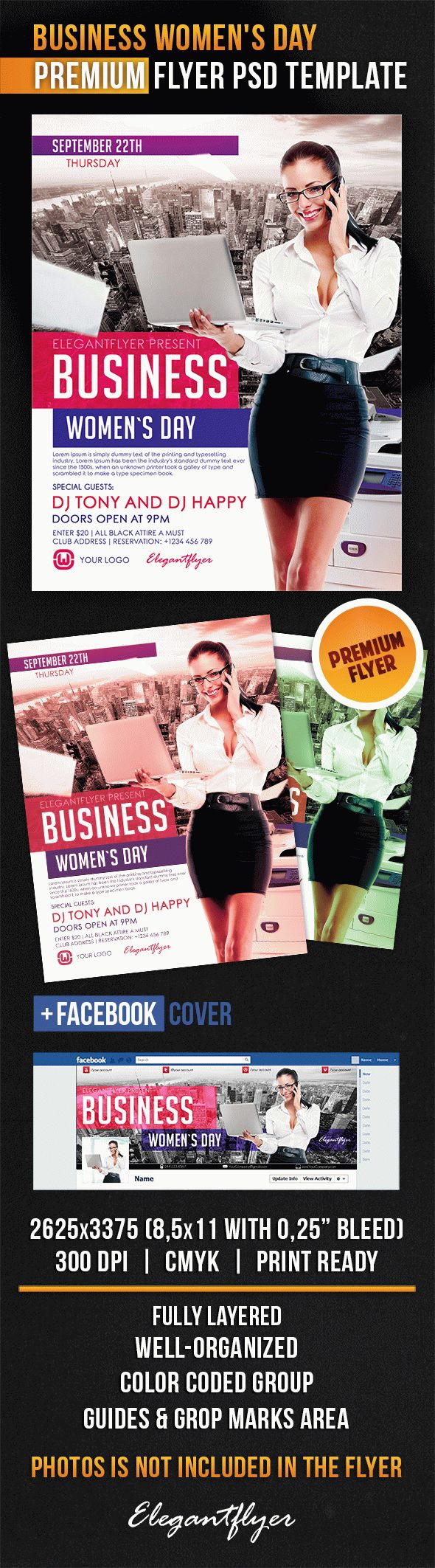 Business Women's Day – Flyer PSD Template + Facebook Cover