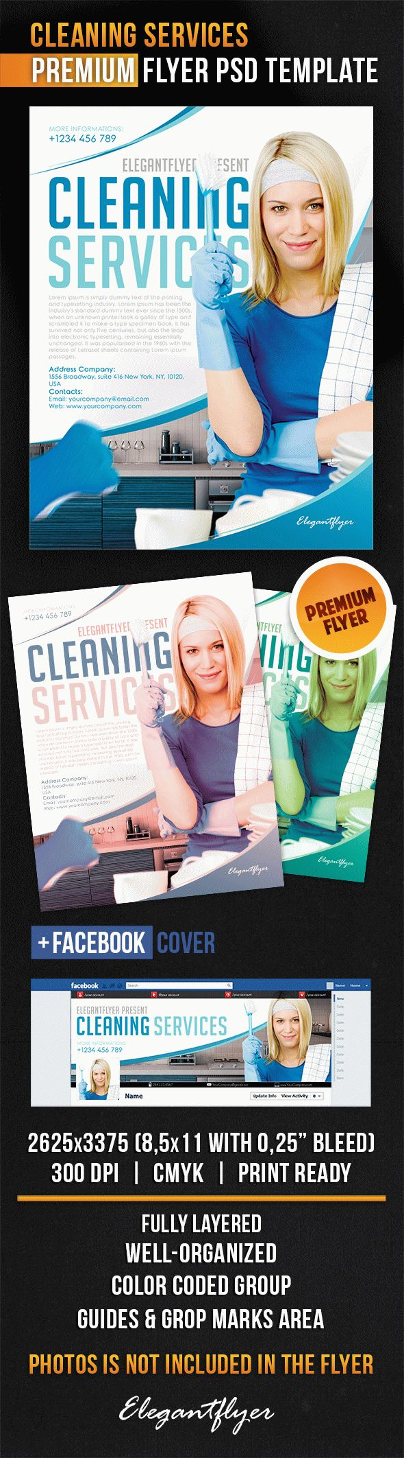 Cleaning Services – Flyer PSD Template + Facebook Cover