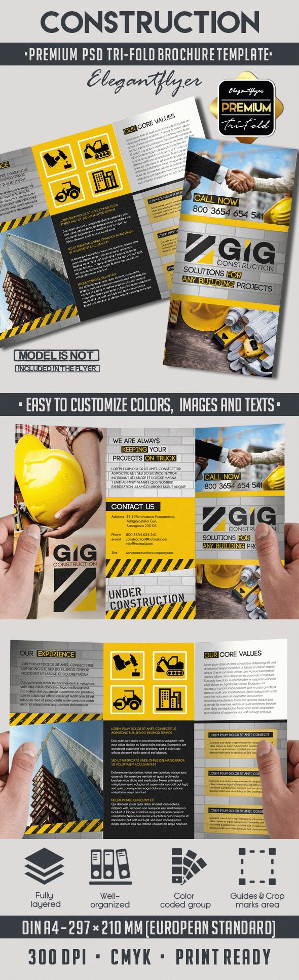 Construction – Premium Tri-Fold PSD Brochure Template