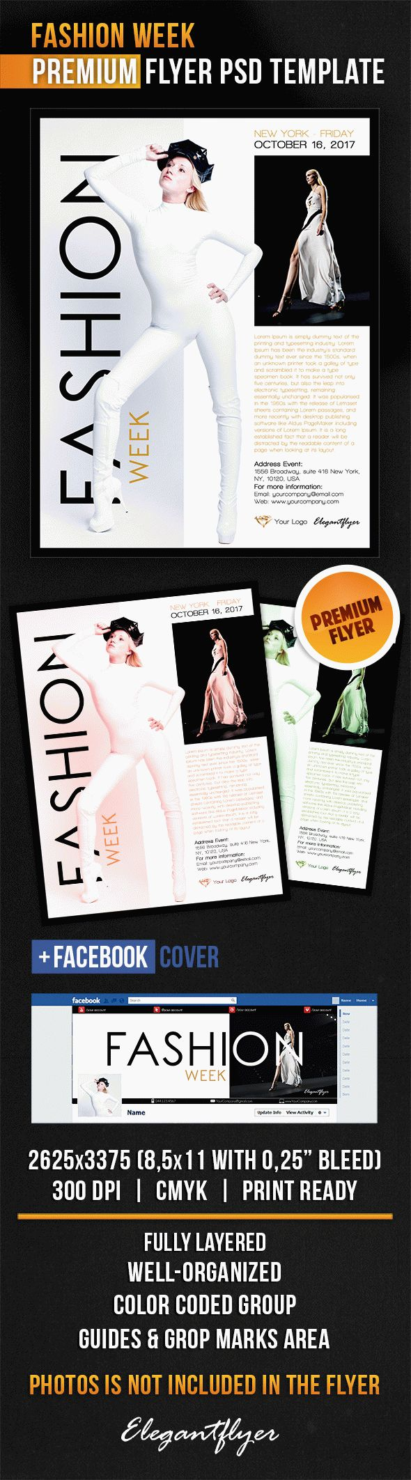 Fashion Week – Flyer PSD Template + Facebook Cover