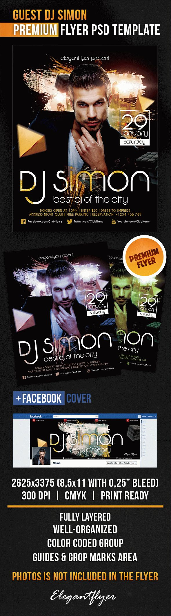 Guest Dj Simon – Flyer PSD Template + Facebook Cover