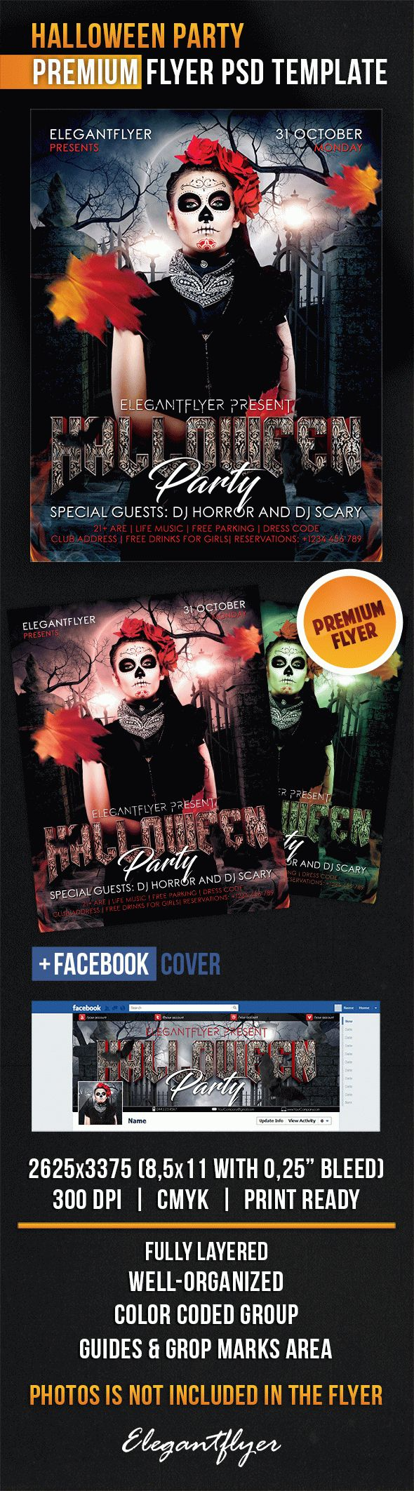 Halloween Party – Flyer PSD Template + Facebook Cover – by ...