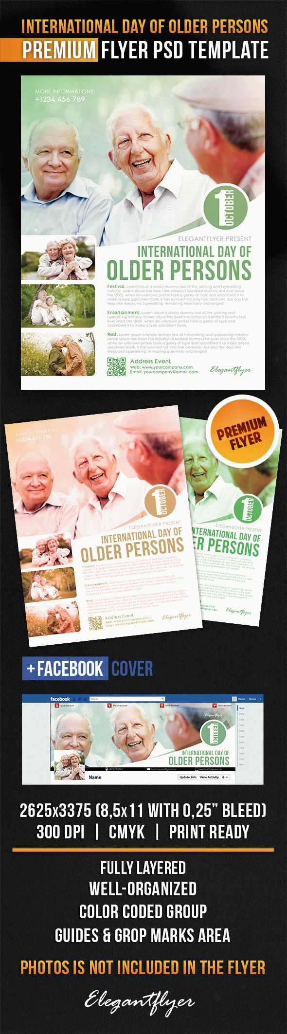 International Day of Older Persons – Flyer PSD Template + Facebook Cover