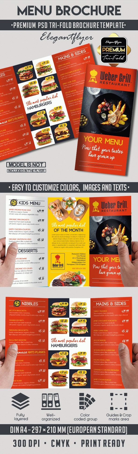 menu premium tri fold psd brochure template by elegantflyer