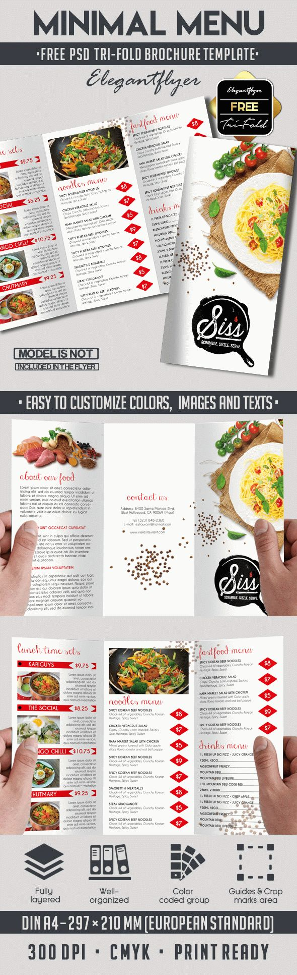 Free PSD Brochure for Minimal Menu