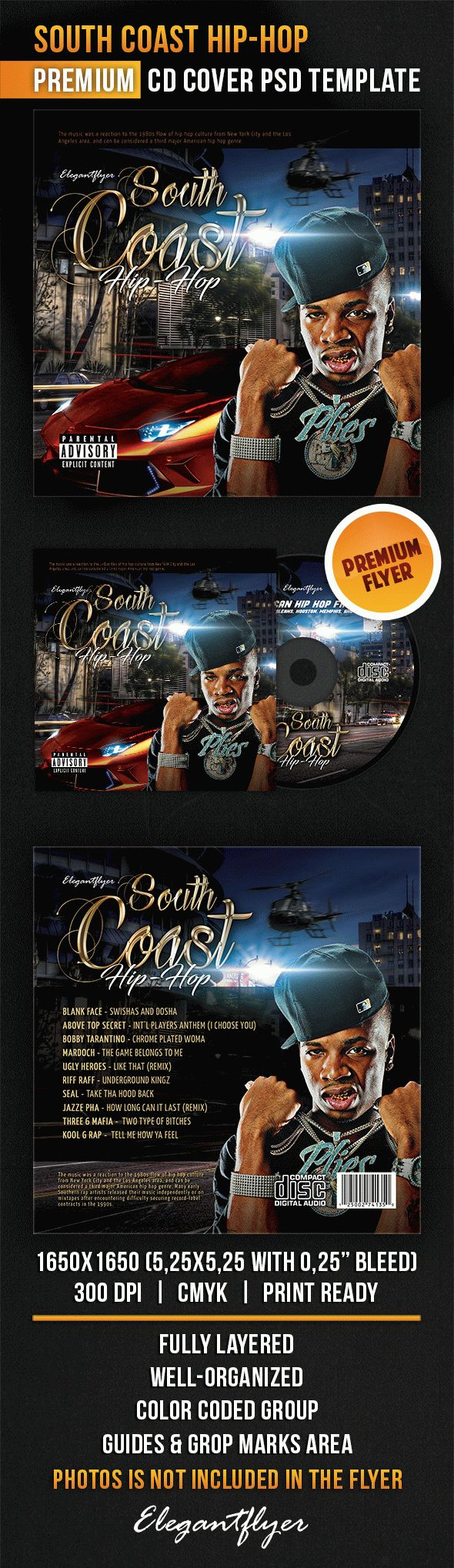 South Coast Hip-Hop – CD Cover PSD Template
