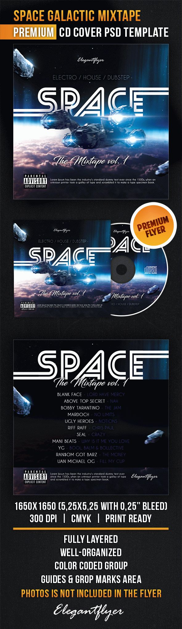 Space Galactic Mixtape – CD Cover PSD Template