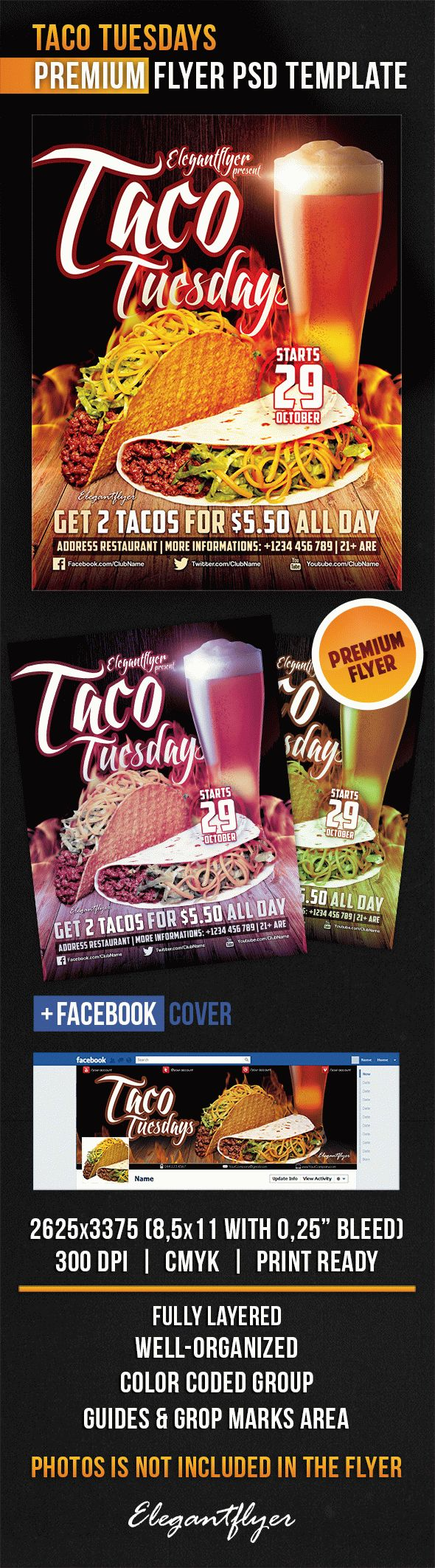 Taco Tuesdays – Flyer PSD Template + Facebook Cover