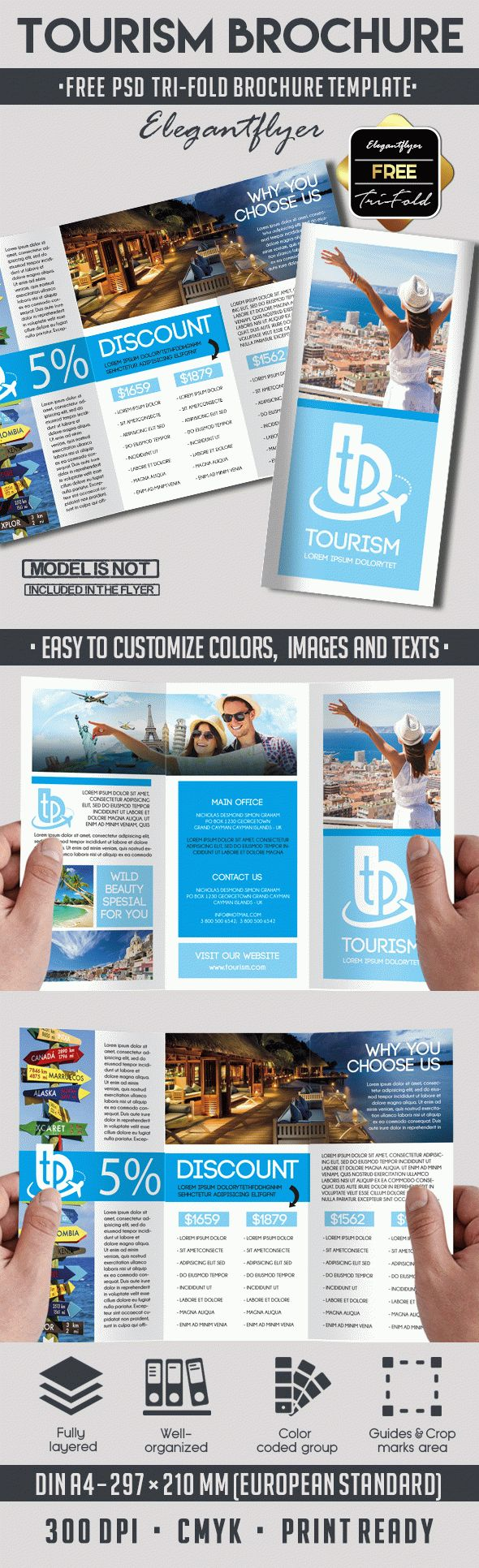 Tourism free psd tri fold psd brochure template by for Free online tri fold brochure template