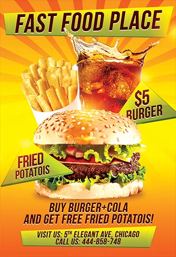 Fast Food – Flyer PSD Template + Facebook Cover – by ElegantFlyer