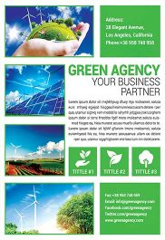 Green Agency – Flyer PSD Template + Facebook Cover