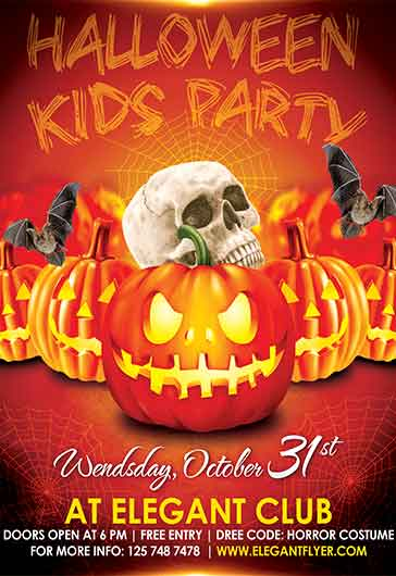 Flyer For Kids Halloween Party