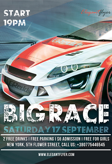 Big Race – Free Flyer PSD Template + Facebook Cover