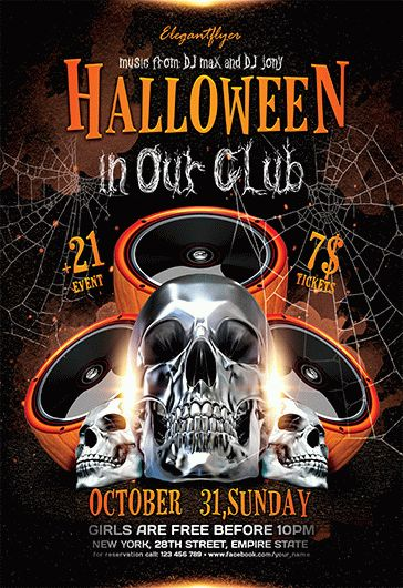 Halloween in Our Club – Flyer PSD Template
