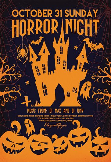 Horror Night in Castle PSD Poster