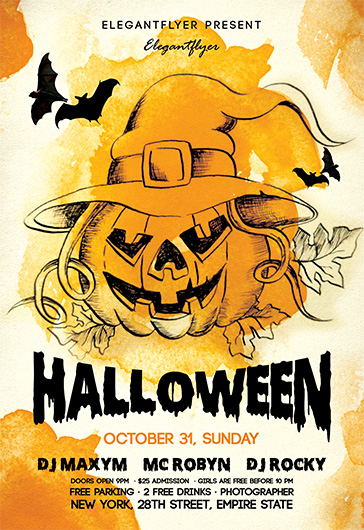 night halloween free flyer psd template - Free Halloween Flyer Templates