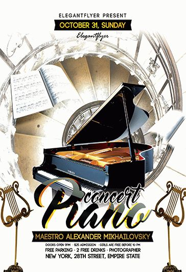Piano concert – Free Flyer PSD Template