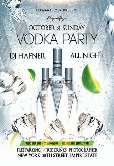 vodka party  u2013 free flyer psd template  u2013 by elegantflyer