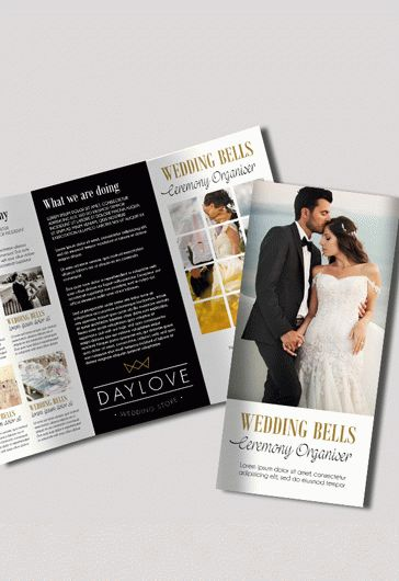 Tri-Fold PSD Brochure for Wedding Bells Ceremony Organiser