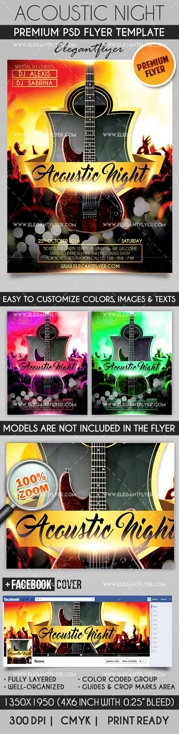 Acoustic Guitar Flyer Template Printable