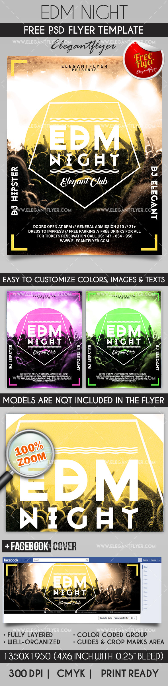 EDM Night – Flyer PSD Template + Facebook Cover
