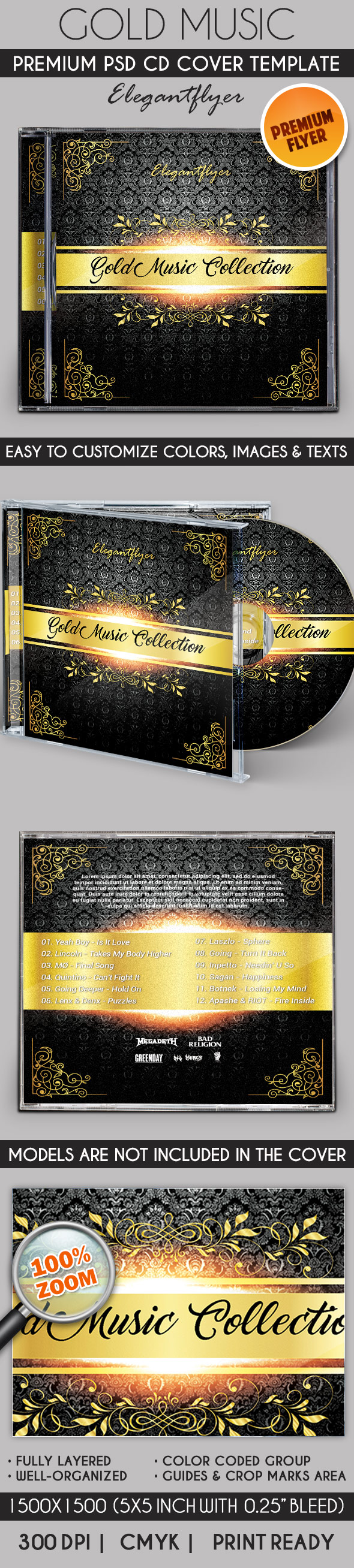 Gold Music Collection – Premium CD Cover PSD Template