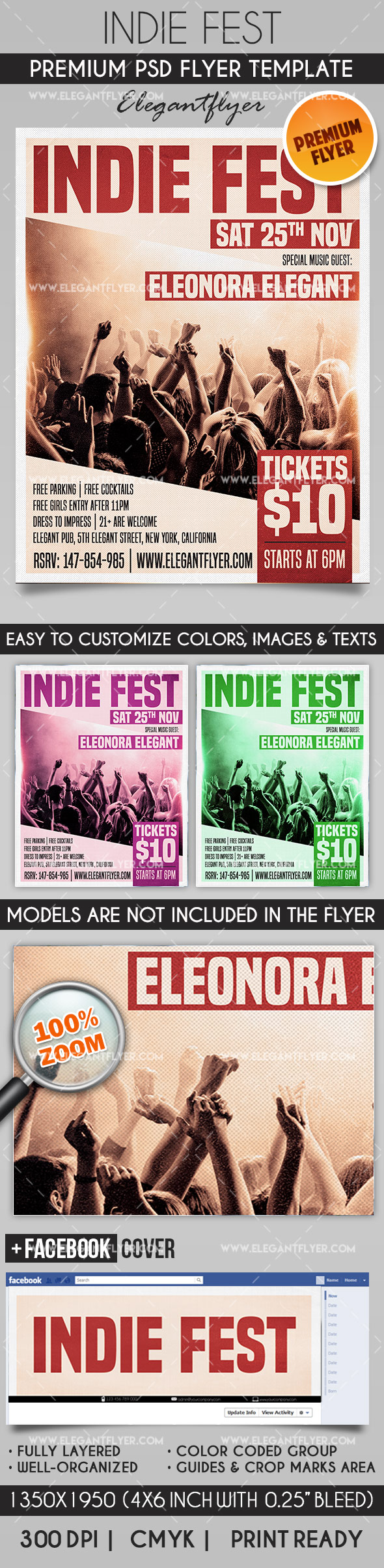 Indie Fest – Flyer PSD Template + Facebook Cover
