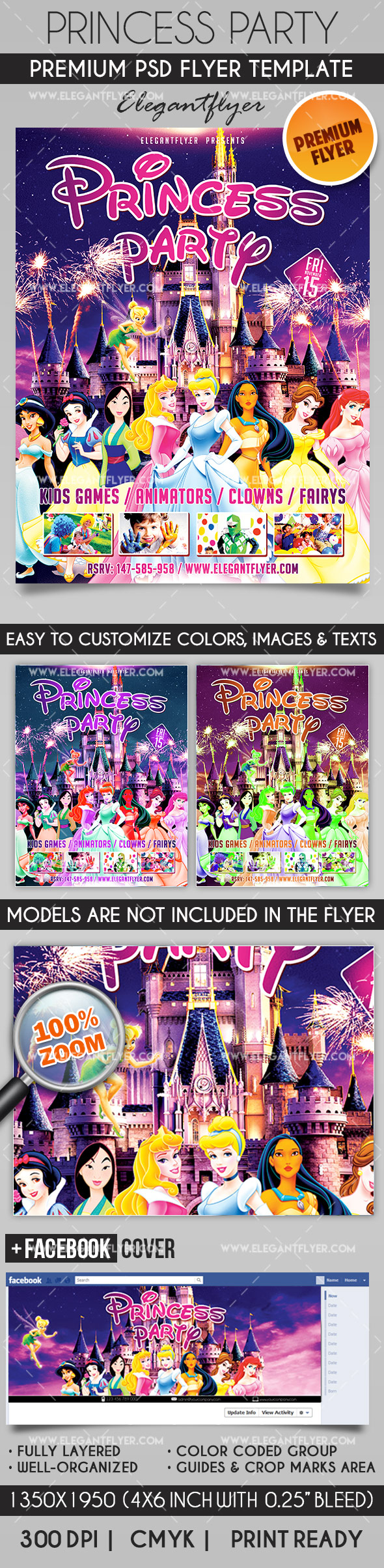 Princess Party – Flyer PSD Template