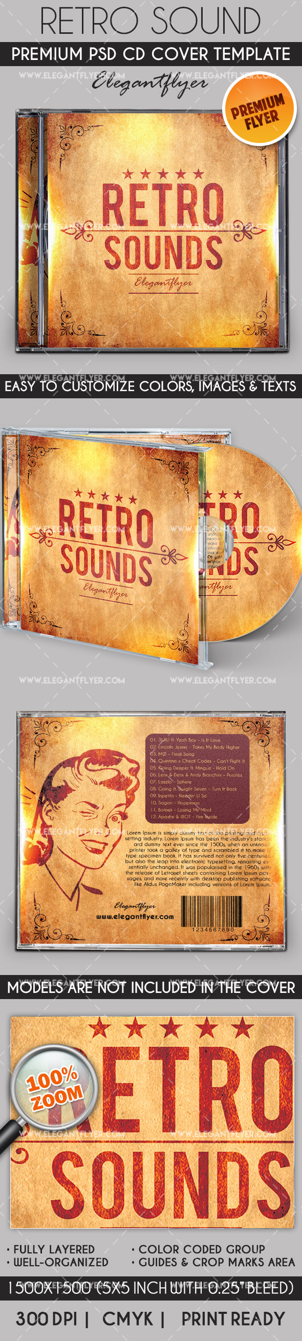 Retro Sounds – Premium CD Cover PSD Template