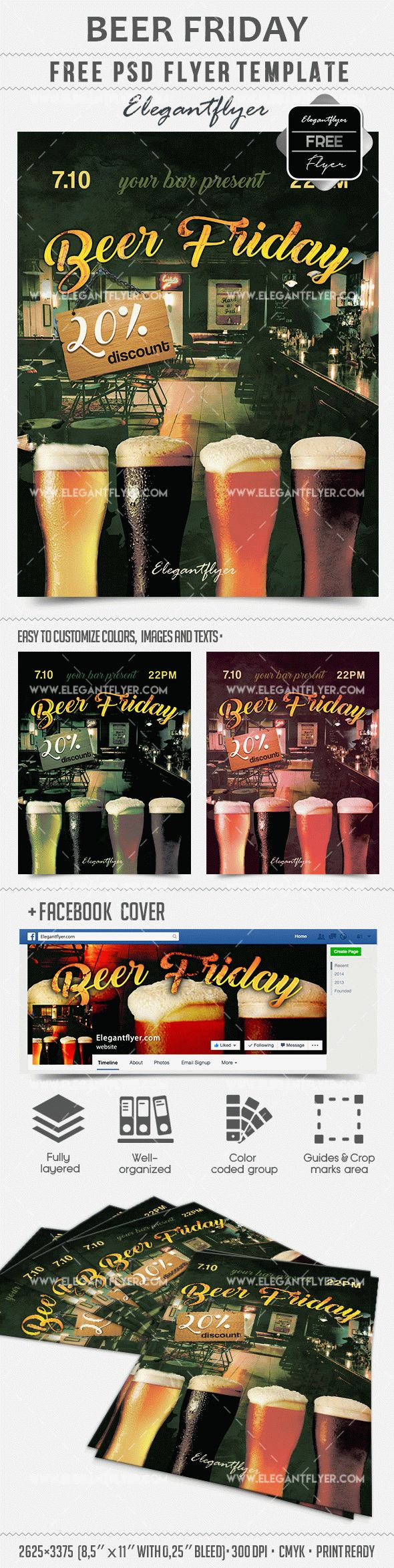 Beer Friday – Free PSD Template + Facebook cover