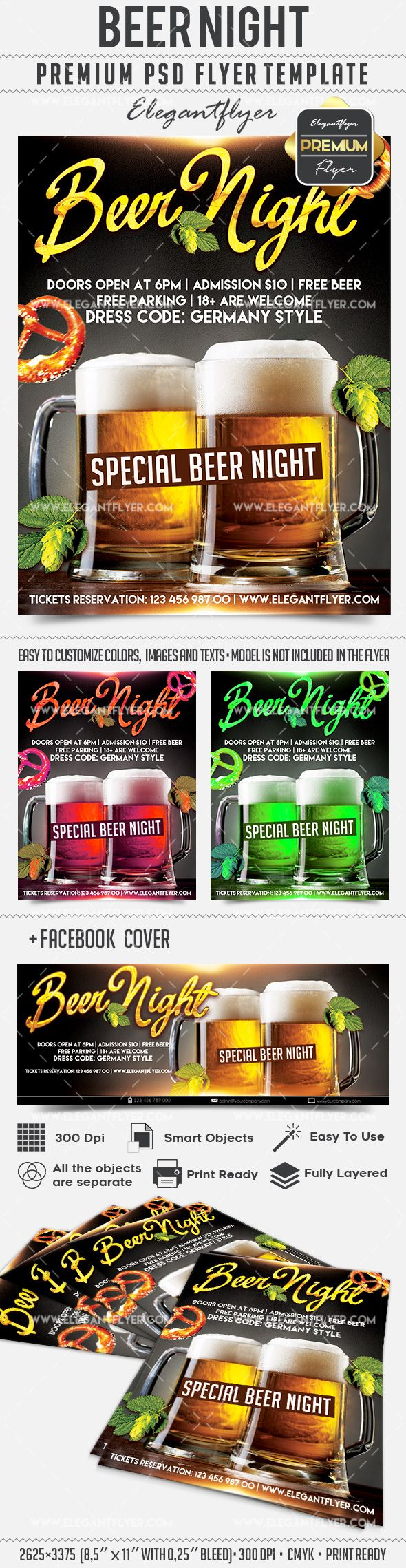 Beer Night – Flyer PSD Template + Facebook Cover